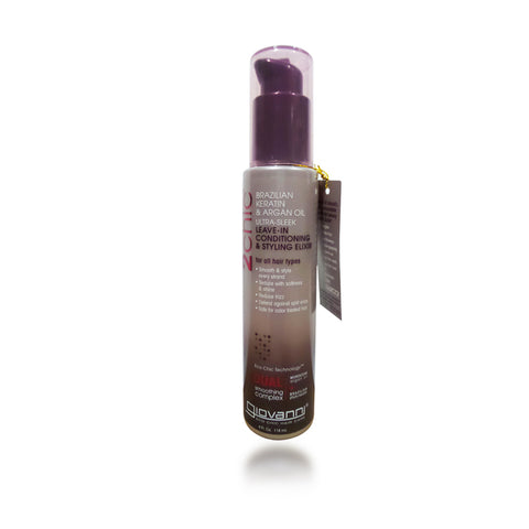 Giovanni 2Chic Brazilian Keratin & Argan Oil Ultra-Sleek Leave-In Conditioning & Styling Elixir, 4 oz