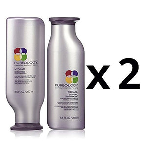 Pureology Hydrate Shampoo 8.5oz and Hydrate Conditioner 8.5 oz duo, Pack of 2, 2 shampoo and 2 conditioners