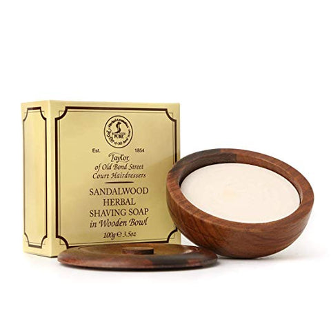 Taylor of Old Bond Street Sandalwood Herbal Shaving Soap in Wooden Bowl, 3.5 oz