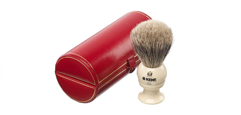 Kent BK4 - Traditional medium sized, pure silver-tipped badger brush.