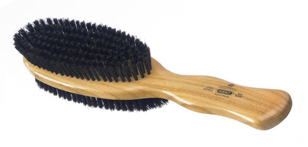 Kent CC20 - A Cherry wood, natural bristle clothes brush. Double-sided; stiff and soft bristle.