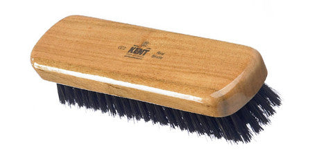 Kent CC2 - A small rectangular, travel size clothes brush made from Cherry wood and pure black bristle. (no handle)
