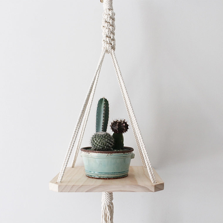 Crown Wood Macrame Shelf