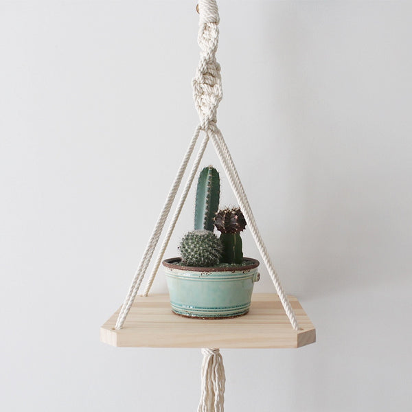 Twisted Wood Macrame Shelf