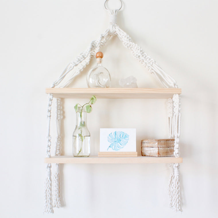 Two Tier Wood Macrame Shelf