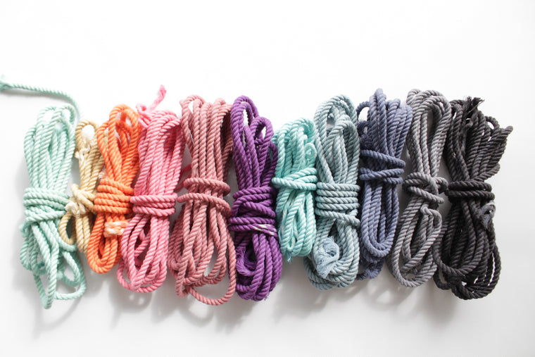 Hand dyed natural cotton rope samples