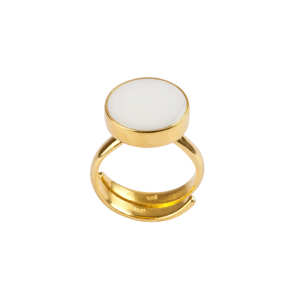 White Agate Medium Disco Ring