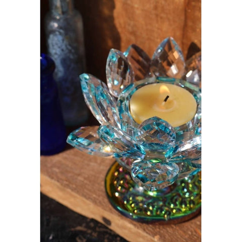 Crystal Lotus Candle Holder with Blue Highlights