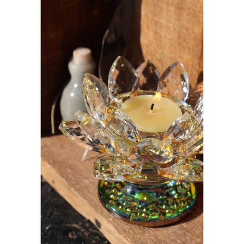 Crystal Lotus Candle Holder with Yellow Highlights