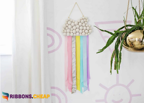 A Quick and Easy DIY of Ribbon Rainbow Wall Hanging