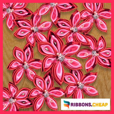 make Kanzashi Flower using Grosgrain Ribbon