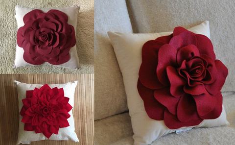 pillow decoration using silk flower petals