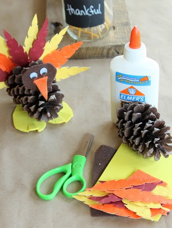 Materials Required to Make Yarn and Ribbon THANKSGIVING Turkey Craft