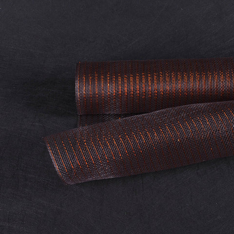 Deco Mesh Wrap Metallic Stripes Brown with Copper Line ( 21 Inch x 10 Yards ) -