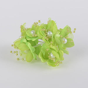 Organza Flowers with Pearl Beads (6x12) Apple Green ( 12 Mini Flowers ) -