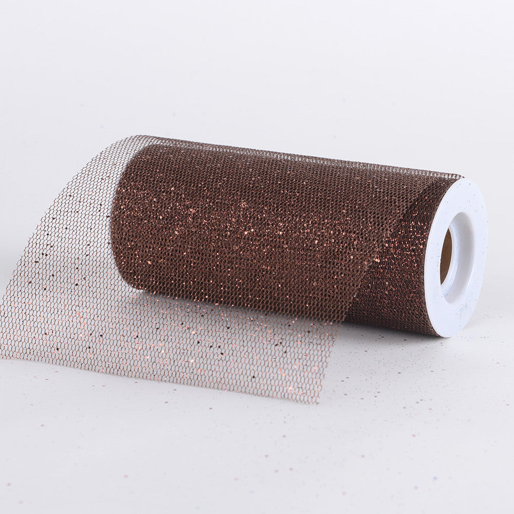 Premium Glitter Net Chocolate Brown ( W: 6 inch | L: 10 Yards ) -