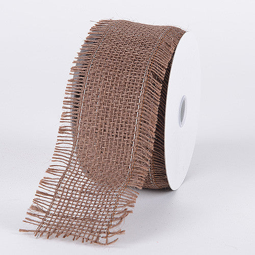Frayed Edge Burlap Wired Edge Chocolate Brown ( W: 2-1/2 inch | L: 10 Yards )