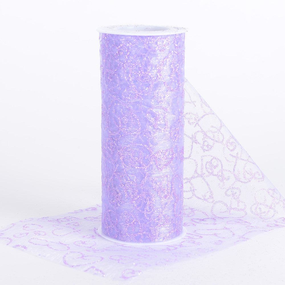 6 inch Glitter Hearts Organza Roll Lavender ( W: 6 inch | L: 10 Yards ) - Ribbons Cheap