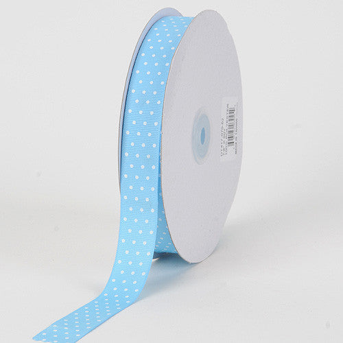 Grosgrain Ribbon Swiss Dot Baby Blue with White Dots ( W: 3/8 inch | L: 50 Yards ) -