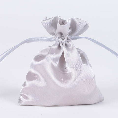 Satin Bags Silver ( 3x4 Inch - 10 Bags ) -