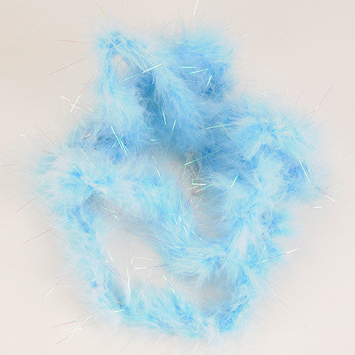 Mini Feather Decorations Light Blue Iridescent ( 2 Yards Boa )
