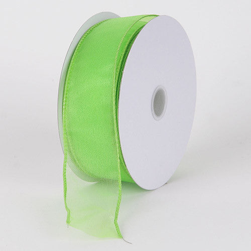 Organza Ribbon Thick Wire Edge 25 Yards Apple Green ( W: 1-1/2 inch | L: 25 Yards ) -
