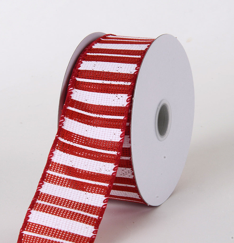 Burlap Ribbon Multi Stripes Red ( W: 1-1/2 inch | L: 10 Yards ) -