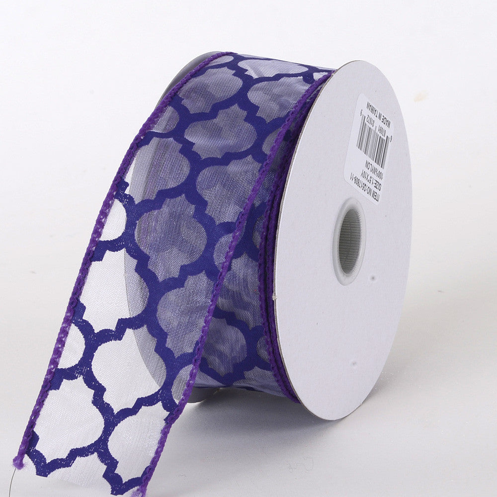 Organza Ribbon Large Quatrefoil Print Purple ( W: 1-1/2 inch | L: 10 Yards ) -