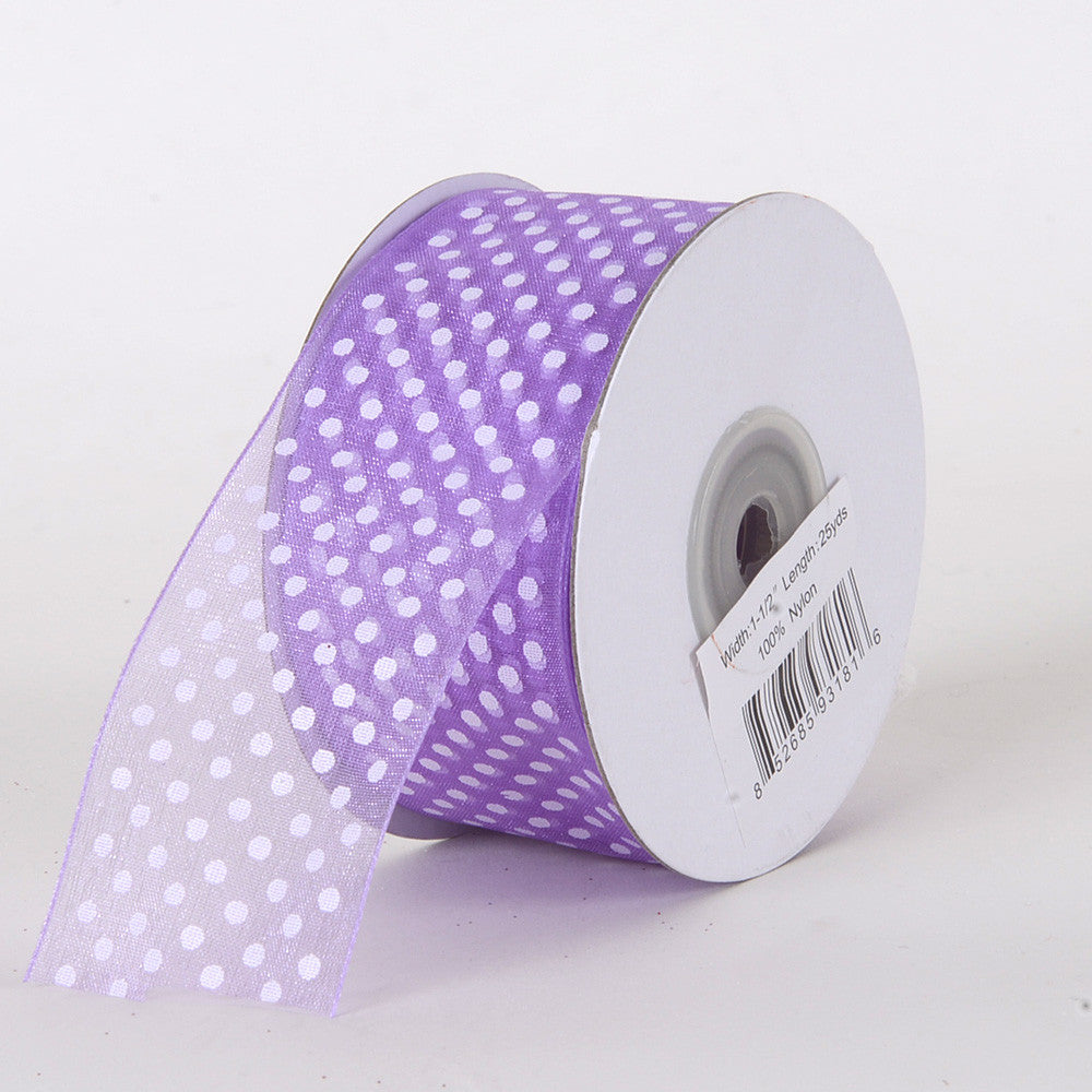 Organza Swiss Dots Ribbon Lavender ( 5/8 inch | 25 Yards ) -