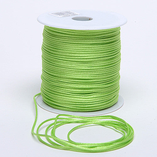 2mm Satin Rat Tail Cord Apple Green ( 2mm x 100 Yards ) - Ribbons Cheap