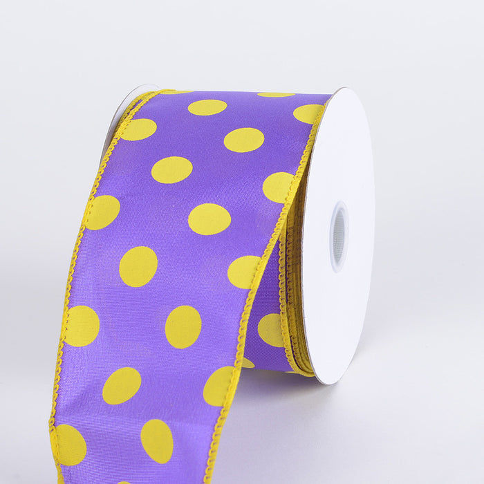 Satin Polka Dot Ribbon Wired Purple with Yellow Dots ( W: 2-1/2 inch | L: 10 Yards )