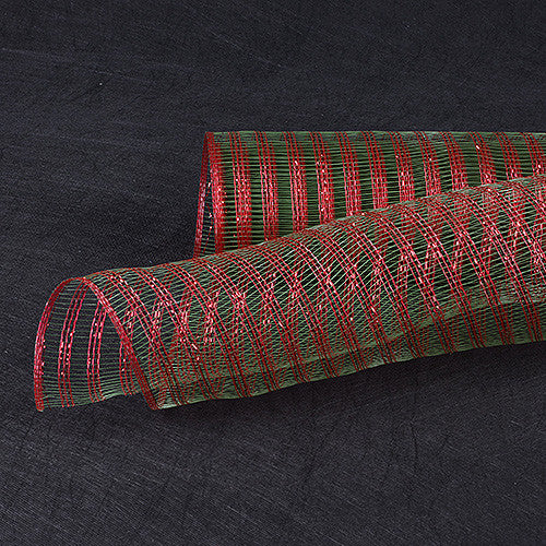 Metallic Line Mesh Wrap Green Red ( 21 Inch x 10 Yards ) -