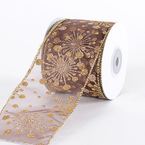 Christmas Ribbon Chocolate Brown ( 2-1/2 Inch x 10 Yards ) -