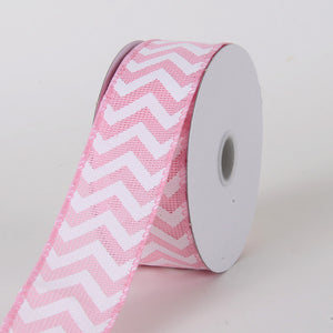 Chevron Burlap Wired Edge Pink ( W: 1-1/2 inch | L: 10 Yards ) -