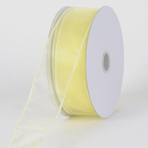 Organza Ribbon Thick Wire Edge 25 Yards Baby Maize ( 2-1/2 inch | 25 Yards ) -