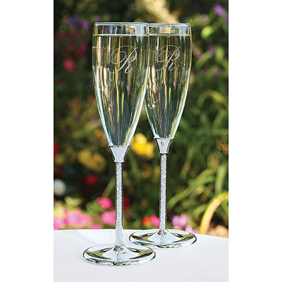 Wedding Toasting Flute Glittering Beads Flutes ( Set of 2 ) -