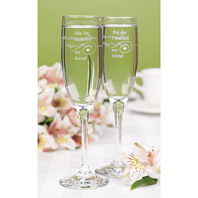 Wedding Toasting Flute Married My Friend Flutes ( Set of 2 ) -