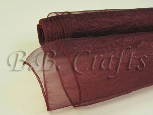 Burgundy  Premium Crinkle Organza Overlays  ( W: 24 inch | L: 10 Yards )- Ribbons Cheap