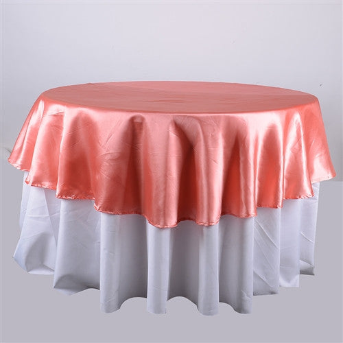 Coral  108 Inch Satin Round Tablecloths  ( 108 inch | Round )- Ribbons Cheap