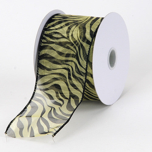 Organza Ribbon Animal Print Wired Daffodil ( W: 1-1/2 inch | L: 10 Yards )