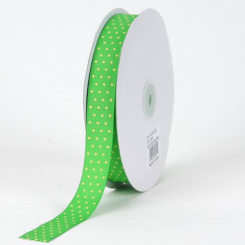 Grosgrain Ribbon Swiss Dot Apple with Canary Dots ( W: 3/8 inch | L: 50 Yards )