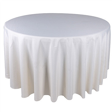 Ivory 120 Inch Premium Polyester Round Tablecloths- Ribbons Cheap