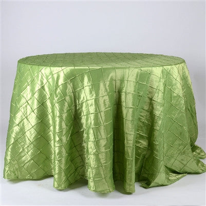 Apple Green 120 Inch Round Pintuck Satin Tablecloth