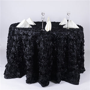 Black 120 Inch Rosette Tablecloths- Ribbons Cheap