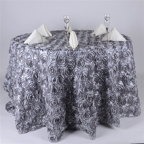 Silver 120 Inch Rosette Tablecloths