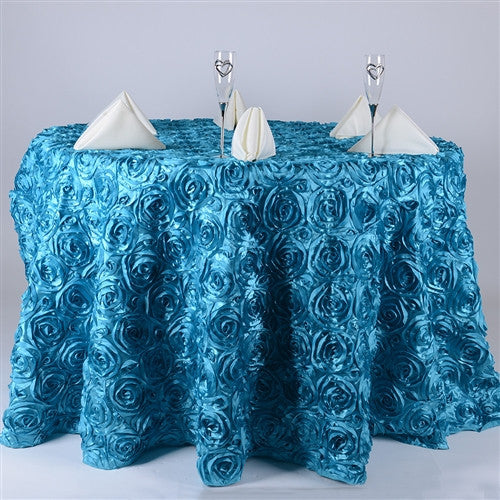 Turquoise 132 Inch Rosette Round Tablecloths