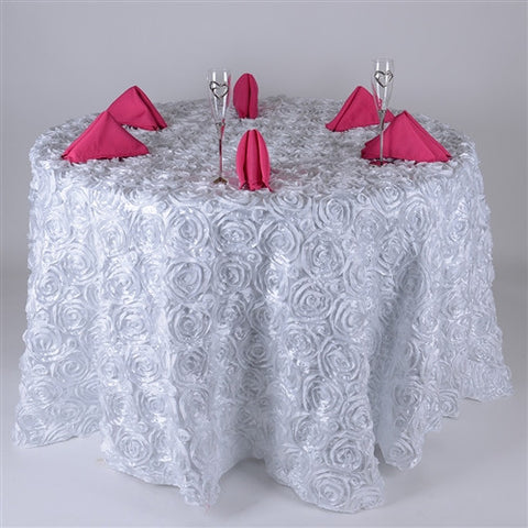 White 120 Inch Rosette Tablecloths- Ribbons Cheap