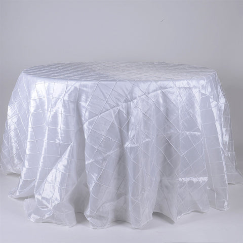 White  120 inch Round Pintuck Satin Tablecloth- Ribbons Cheap