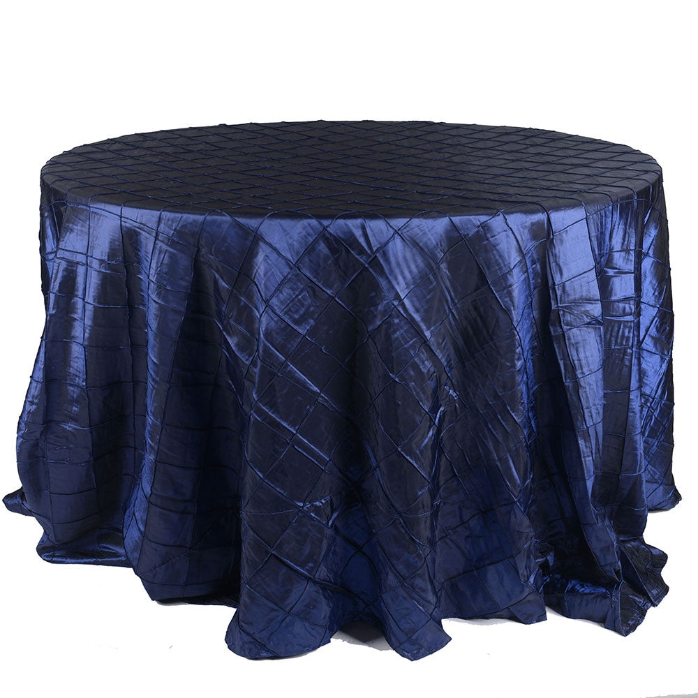 Navy  120 inch Round Pintuck Satin Tablecloth- Ribbons Cheap