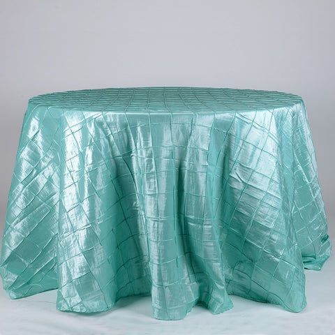 Aqua Blue 120 inch Round Pintuck Satin Tablecloth- Ribbons Cheap